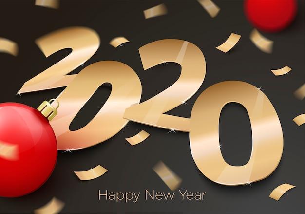 Realistische nieuwjaarsuitnodiging met goudfolie papier nummer 2020 tot op zwart oppervlak