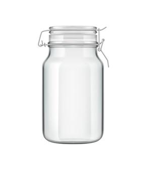 Realistische nul afval eco keuken houten bestek samenstelling met geïsoleerde illustratie van glazen blikje