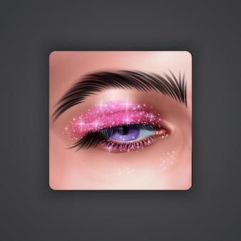 Realistische ogen met heldere oogschaduw van roze kleur met glinsterende textuur