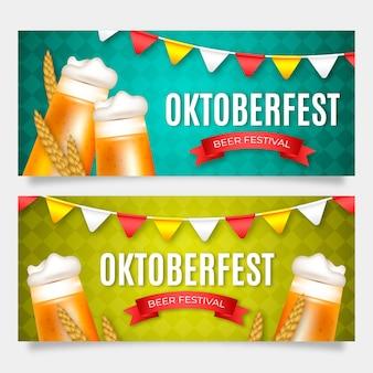 Realistische oktoberfest banners met bier