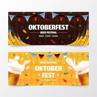 Realistische oktoberfest banners set