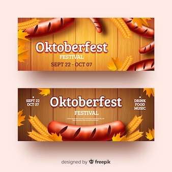 Realistische oktoberfest banners sjabloon