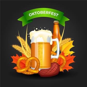 Realistische oktoberfest eten en bier illustratie