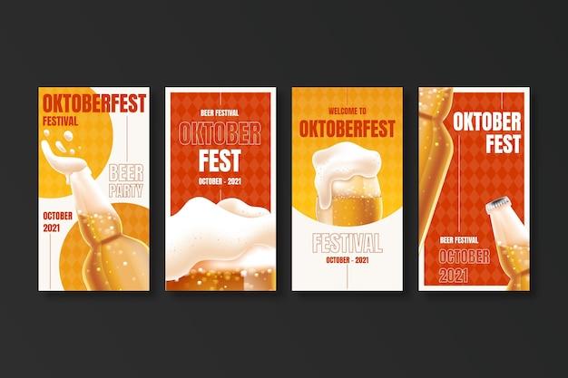 Realistische oktoberfest instagram-verhalencollectie