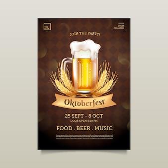 Realistische oktoberfest poster met pint