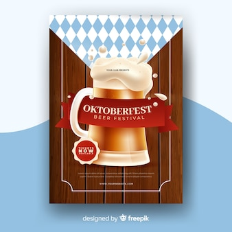 Realistische oktoberfest poster sjabloon
