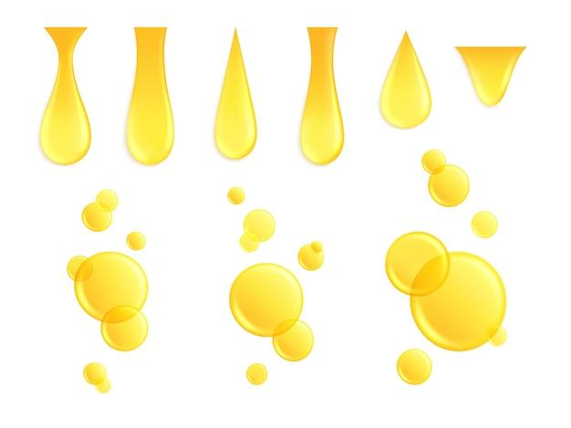 Realistische oliedruppels. druipende druppel, honinggele druppel. geïsoleerde keratine of eiwit, vloeibare gouden bubbel. cosmetische druppel vector set. illustratie olie gele druppel, druppel vloeibaar goud, druppel goud