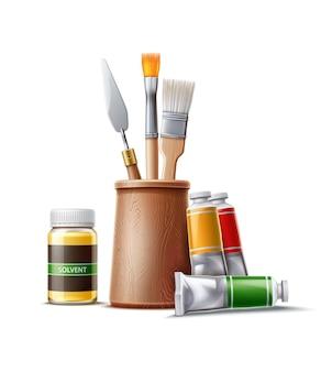 Realistische olieverfbuizen borstels en paletmes met fles oplosmiddel creatieve kunstenaarstools