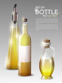 Realistische olijfolieflessen set