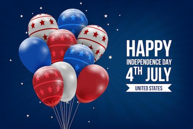 Realistische onafhankelijkheidsdag ballonnen achtergrond
