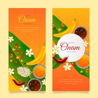 Realistische onam-banners ingesteld
