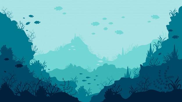 Realistische onderwater achtergrondbodem van de oceaan met zwemmende vissen en koralen