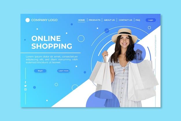 Realistische online bestemmingspagina voor winkelen