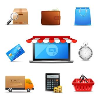 Realistische online winkelen iconen