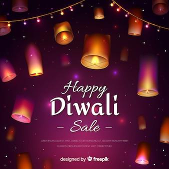Realistische ontwerp diwali verkoop met lantaarns