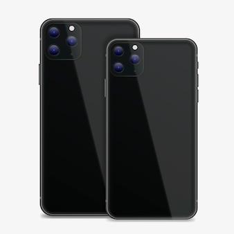 Realistische ontwerpsmartphone met drie camera's