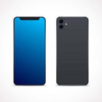 Realistische ontwerpsmartphone met twee camera's