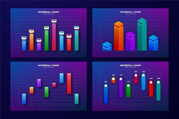 Realistische ontwerpwatervalkaartcollectie