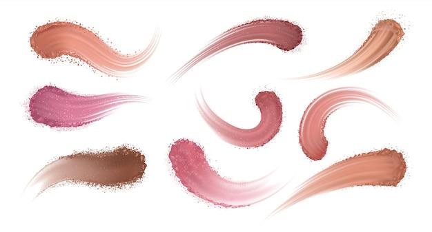 Realistische oogschaduw poeder. make-up blush en oogschaduw, cosmetische slagtextuur, stalen sporenmonsters. vector droge poedermonsterset, hoe aanraking uitstrijkje schaduw op de ogen?