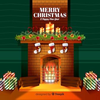 Realistische open haard kerstmis achtergrond