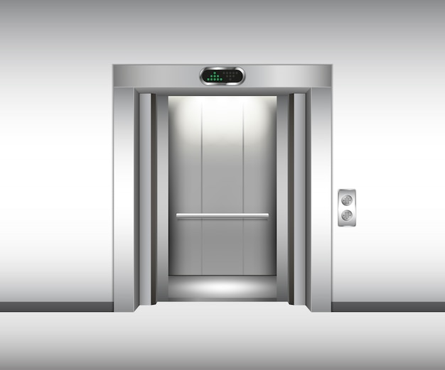 Realistische open metalen lift. vector illustratie