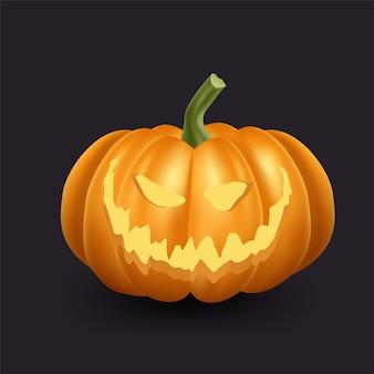 Realistische oranje pompoenillustratie. de enge pompoen van halloween met glimlach en blij gezicht.