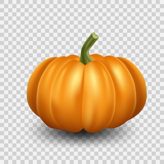 Realistische oranje pompoenillustratie. halloween enge pompoen op transparante achtergrond.