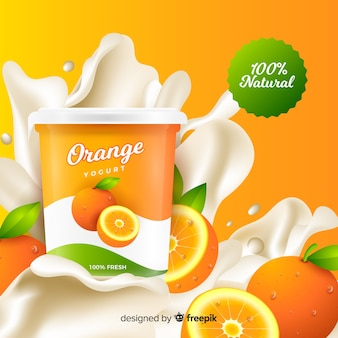 Realistische oranje yoghurtreclame