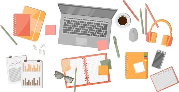 Realistische organisatie van de werkplek. computer, documenten, brillen, koffie, grafieken en grafieken.