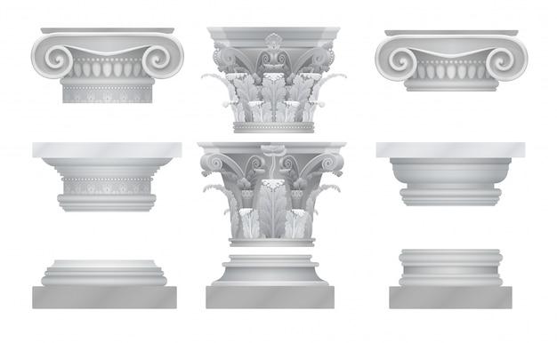 Realistische oude griekse roma kolom hoofdsteden set.