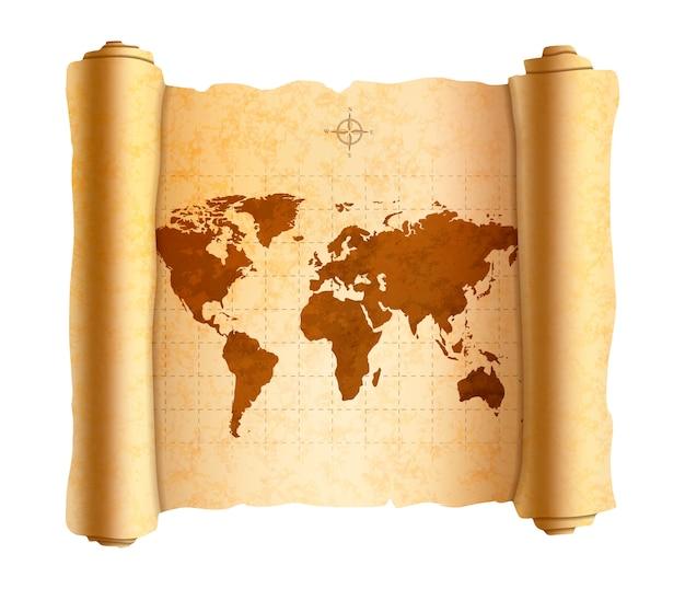 Realistische oude wereldkaart op oude getextureerde scroll op wit