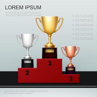 Realistische overwinning en succesposter met gouden zilveren bronzen kopjes op rood podium