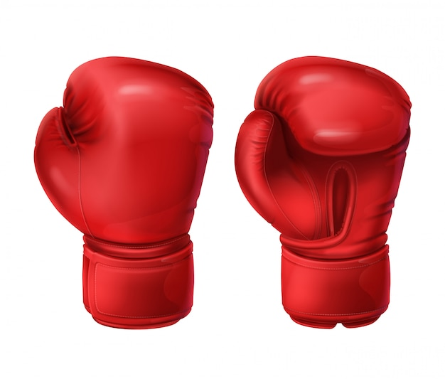 Realistische paar rode bokshandschoenen