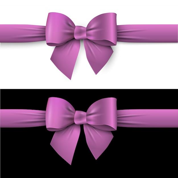 Realistische paarse strik met lint op wit en op zwart