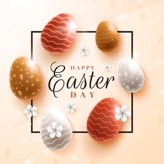 Realistische paasdag kleurrijke eieren met druppels en golven