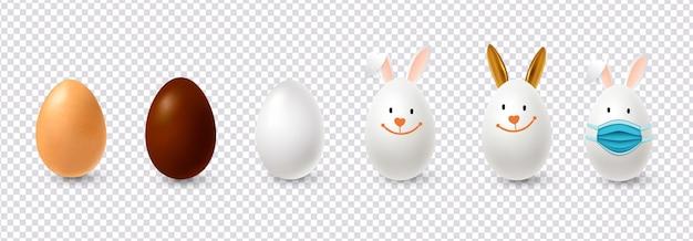 Realistische paaseieren in de vorm van konijnen. illustratie