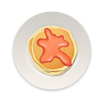 Realistische pannekoek met gekookt of jam op een witte plaatclose-up die op witte achtergrond, hoogste mening wordt geïsoleerd. ontwerpsjabloon voor ontbijt, eten menu en homestyle concept. eps10 illustratie