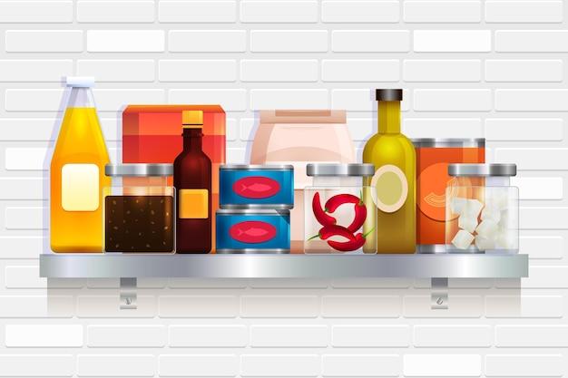 Realistische pantry voedsel illustratie