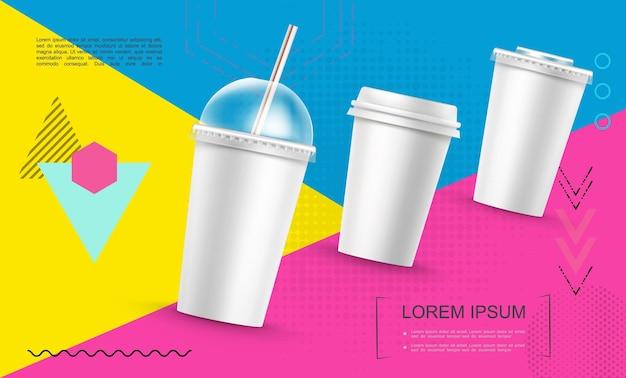 Realistische papieren fastfood cups sjabloon voor frisdrank koffie milkshake op trendy kleurrijke geometrische illustratie