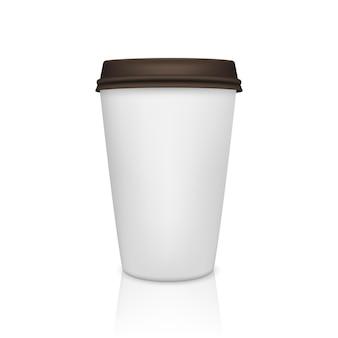 Realistische papieren koffiekopje met reflectie