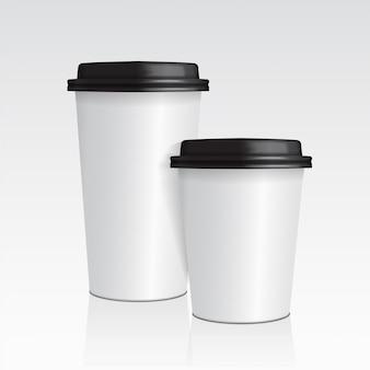 Realistische papieren koffiekopje. set van 3d koffiekopje mock up vector sjabloon