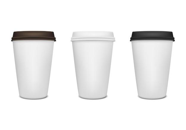 Realistische papieren koffiekopje set.