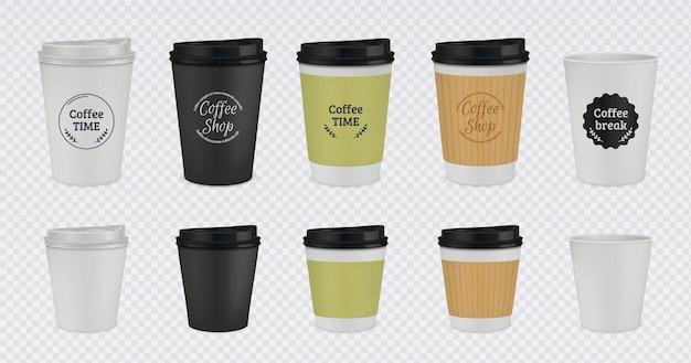 Realistische papieren koffiekopje