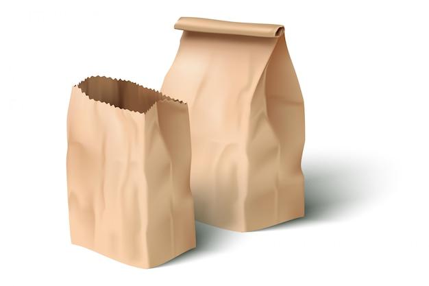 Realistische papieren lunchzak