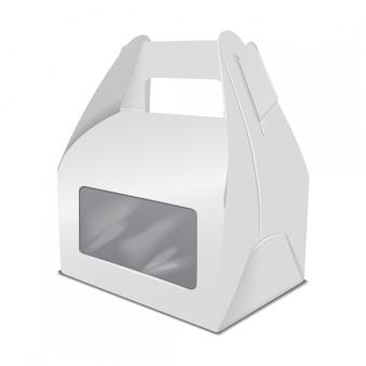 Realistische papieren taartverpakking, geschenkverpakking met handvat en venster. haal de sjabloon voor de voedseldoos weg