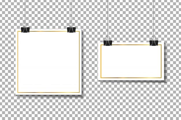 Realistische papieren witte kaders op de transparante achtergrond voor decoratie en huisstijl.