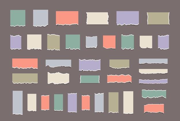 Realistische papiersnippers met gescheurde randen gescheurde witte noot