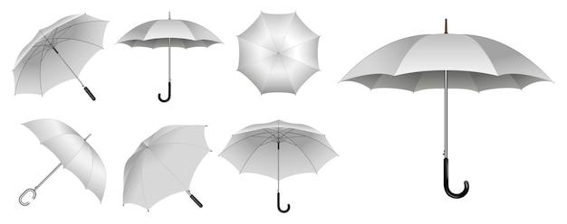 Realistische paraplu in verschillende soorten of mock-up zwart-witte parapluclose-up