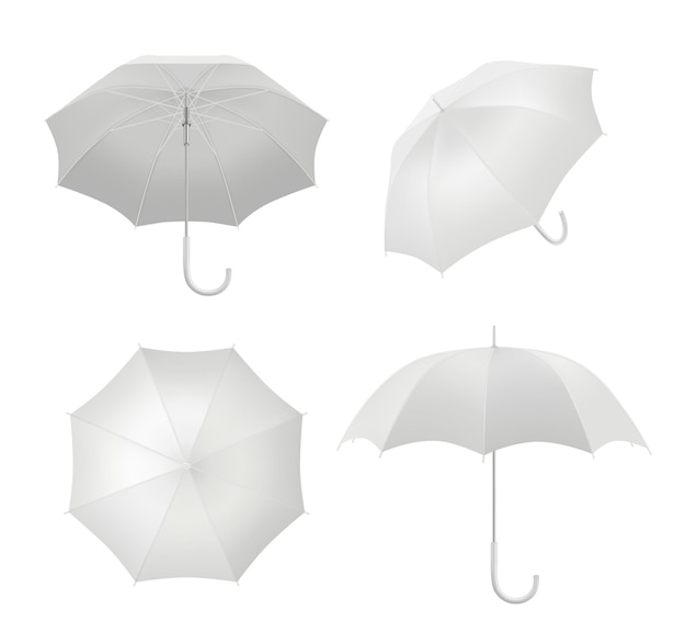 Realistische paraplu's. regenbescherming symbool paraplu in verschillende gezichtspunten vector lege sjabloon. wit parasol realistisch object, veiligheidsbescherming die illustratie bedekt;