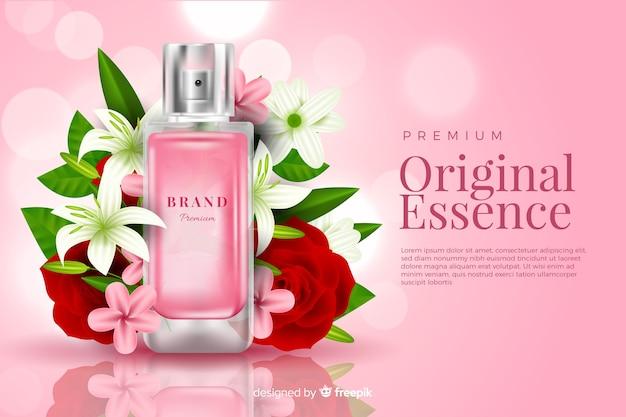 Realistische parfumadvertentie met bloemen